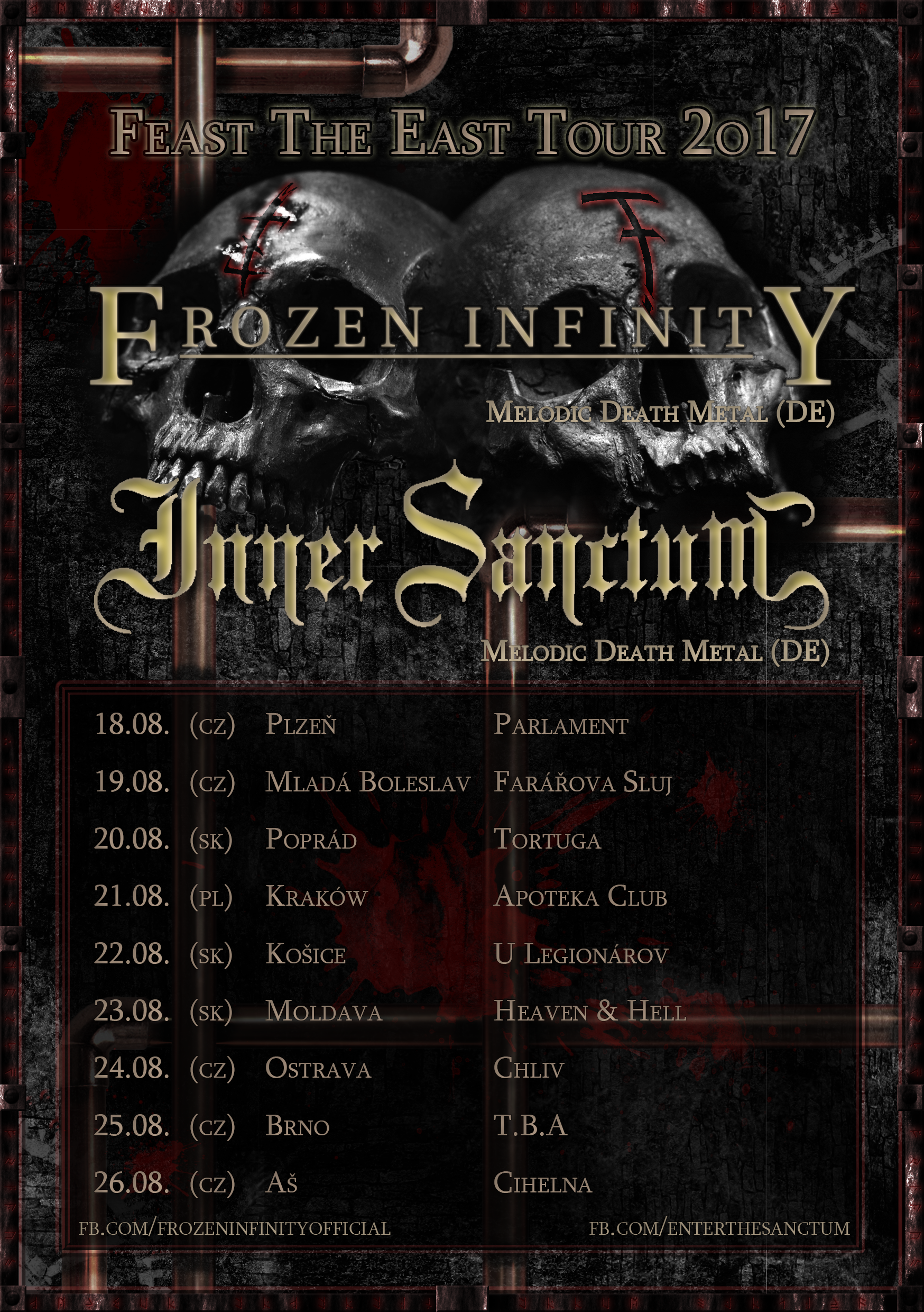 FEAST THE EAST TOUR 2017 – Frozen Infinity a Inner Sanctum zpět v ČR!